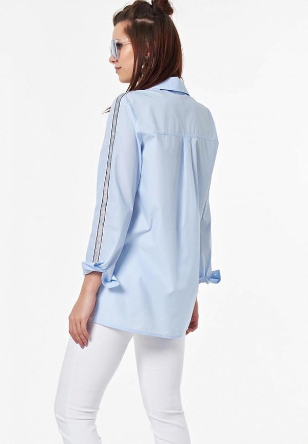 Фото 3 - Женскую рубашку Fly голубого цвета