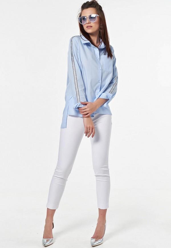 Фото 4 - Женскую рубашку Fly голубого цвета