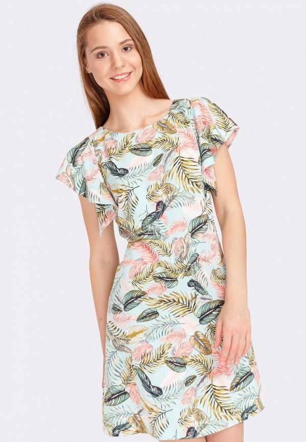 женское повседневные платье cat orange, бирюзовое