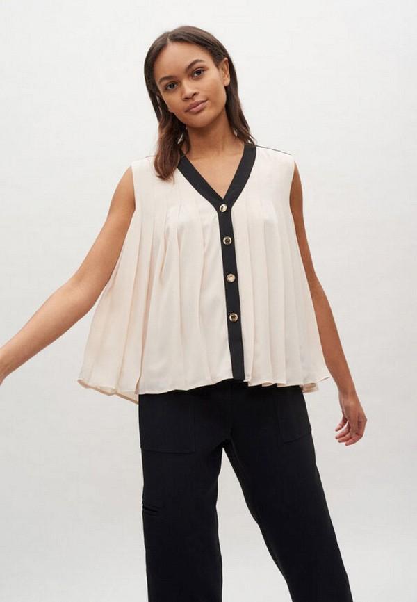 женская блузка без рукавов claudie pierlot, бежевая