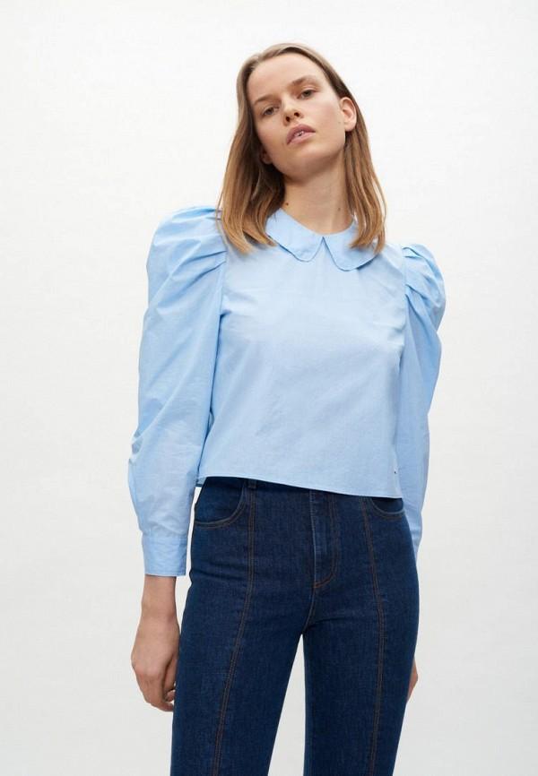 женская блузка с длинным рукавом claudie pierlot, голубая