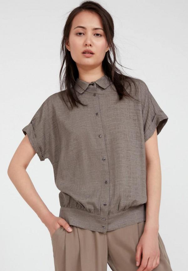 женская блузка с коротким рукавом finn flare, коричневая