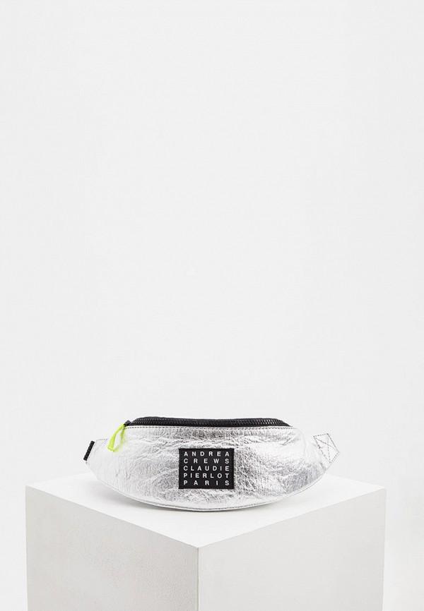 женская поясные сумка claudie pierlot, серебряная