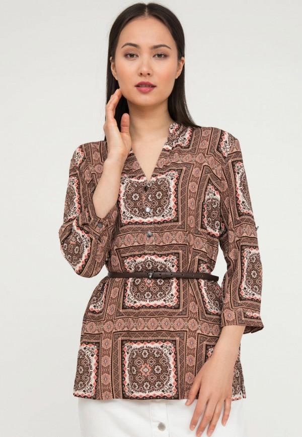 женская блузка с длинным рукавом finn flare, коричневая