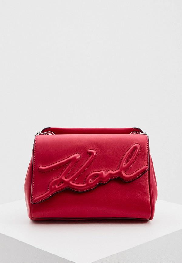 женская сумка через плечо karl lagerfeld, красная