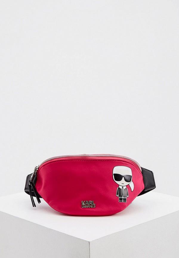 женская поясные сумка karl lagerfeld, розовая