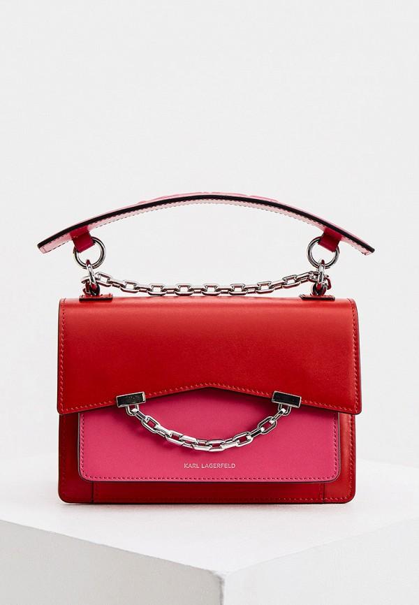женская сумка через плечо karl lagerfeld, розовая