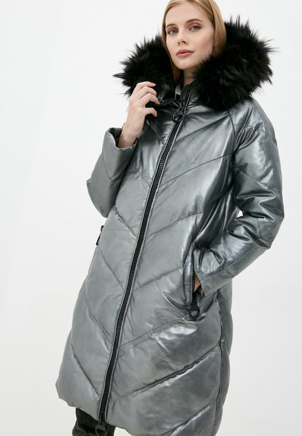 женская кожаные куртка снежная королева, серебряная