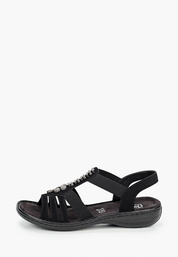 женские сандалии rieker, черные