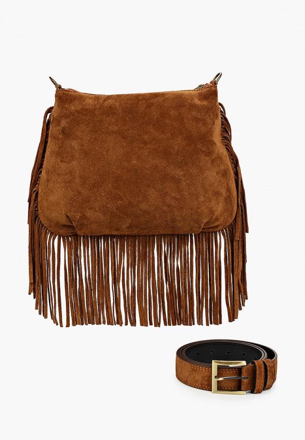 женская сумка через плечо olio rosti, коричневая