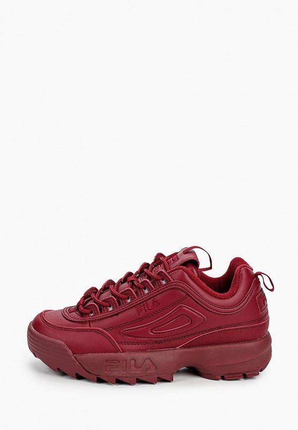 женские низкие кроссовки fila, бордовые