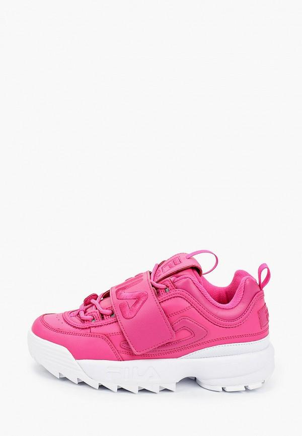 женские низкие кроссовки fila, розовые