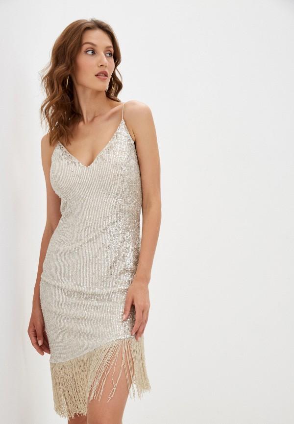 женское вечерние платье vestiri, серебряное