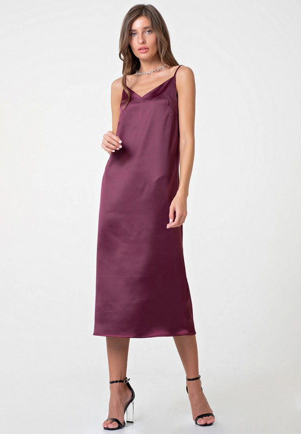 женское платье-комбинация fly, бордовое