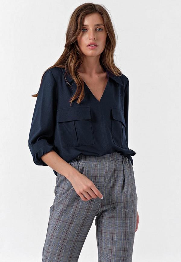женская блузка с длинным рукавом fly, синяя