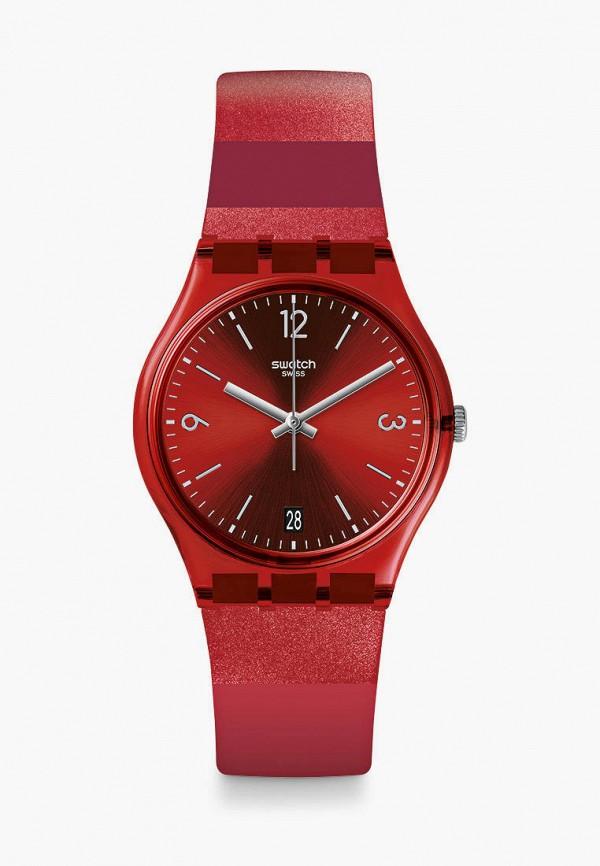 женские часы swatch, красные