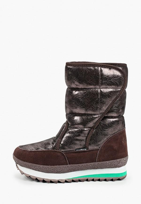 женские дутики king boots, коричневые