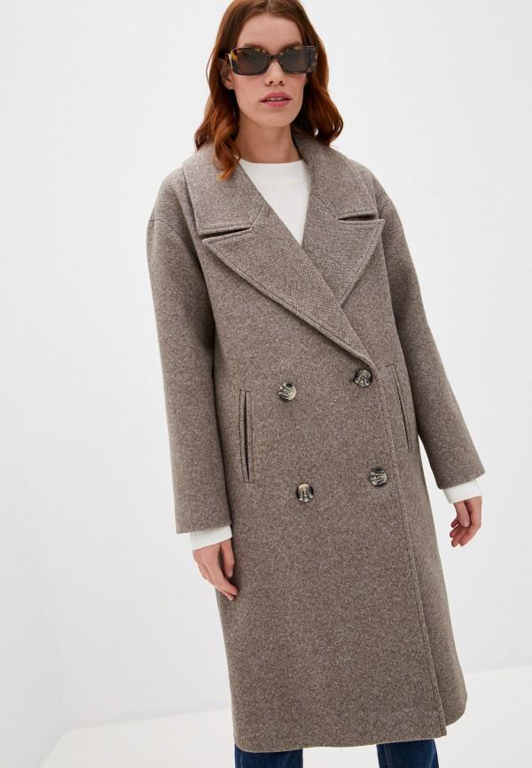 женское двубортные пальто ovelli, коричневое