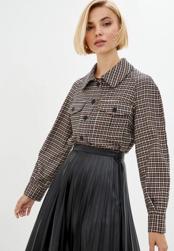 женская рубашка с длинным рукавом motrya, коричневая