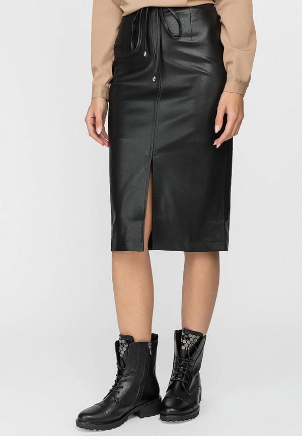 женская кожаные юбка gloss, черная
