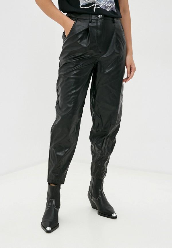 женские кожаные брюки verda, черные