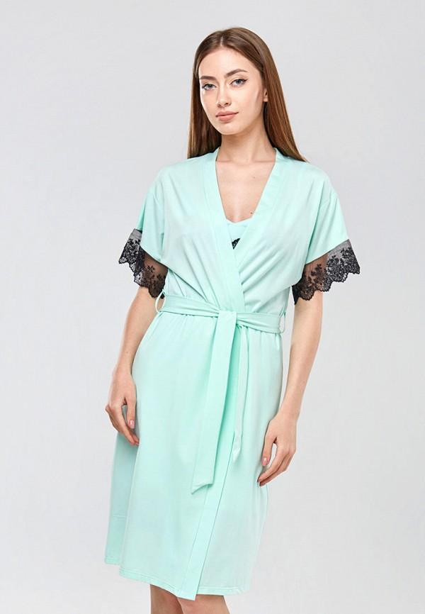 женский халат ora, бирюзовый