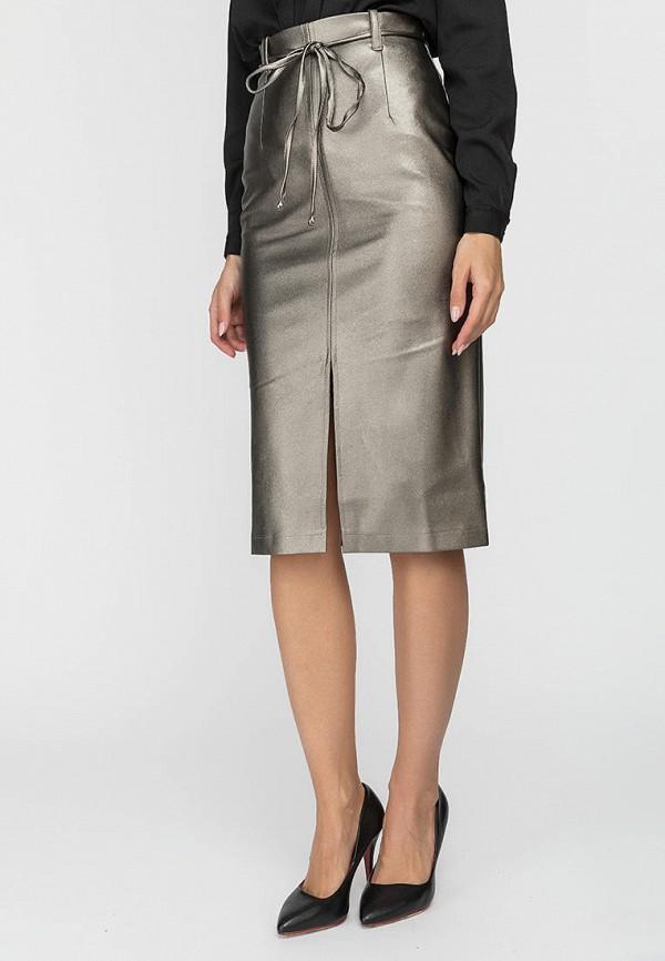 женская кожаные юбка gloss, серебряная