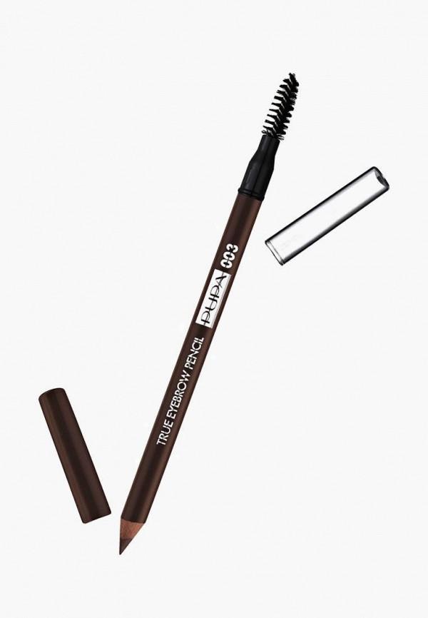 женский карандаш для бровей pupa, коричневый
