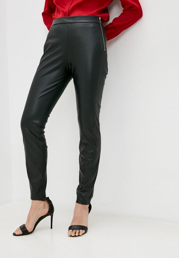 женские кожаные брюки boss, черные