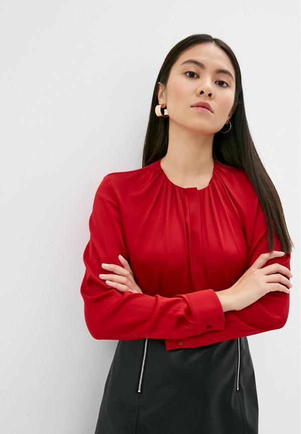 женская блузка с длинным рукавом boss, красная