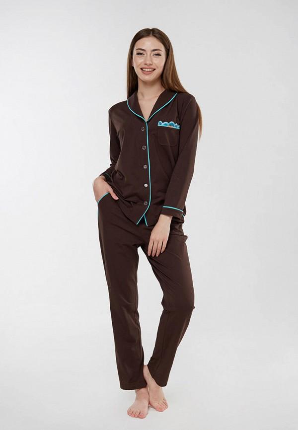 женская пижама ora, коричневая