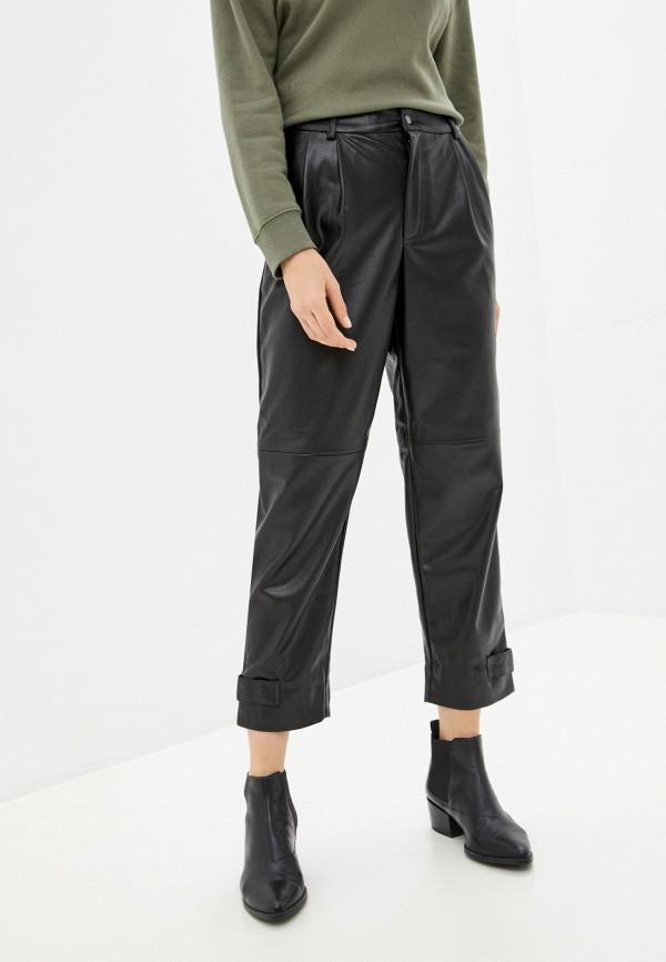 женские кожаные брюки sela, черные
