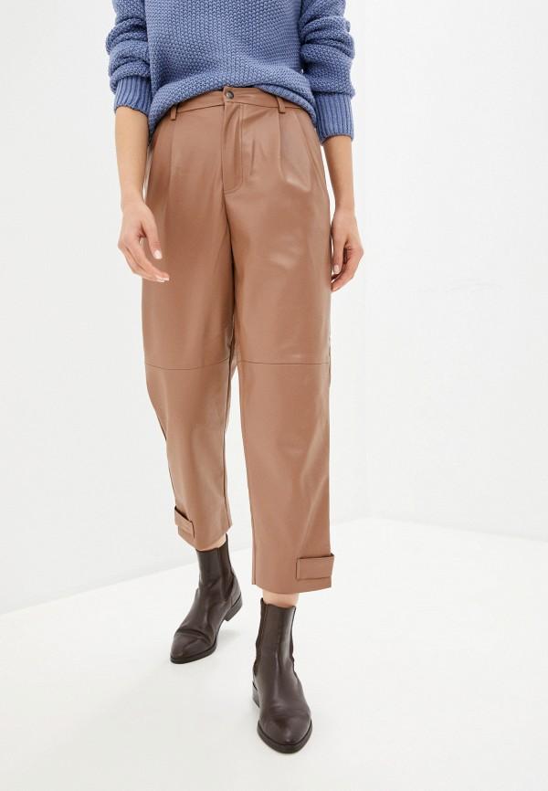 женские кожаные брюки sela, коричневые