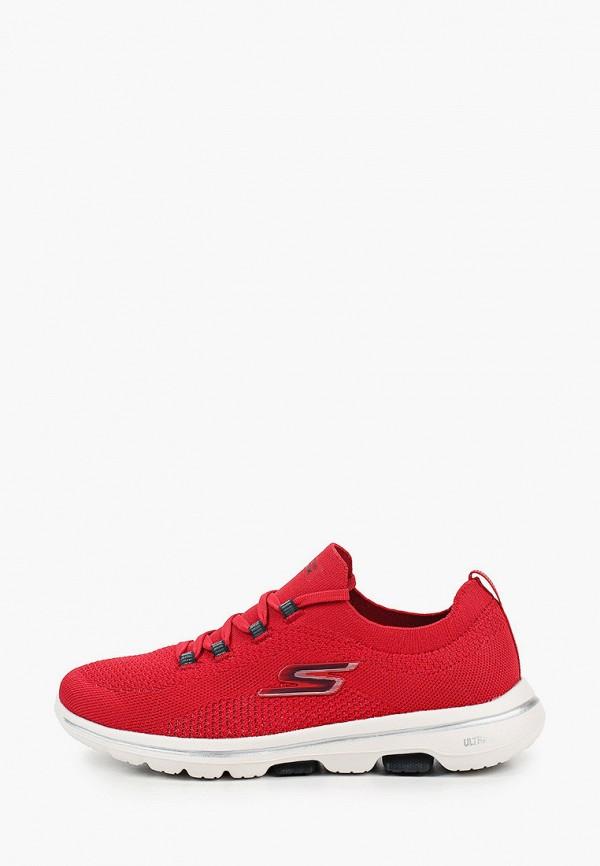 женские низкие кроссовки skechers, бордовые