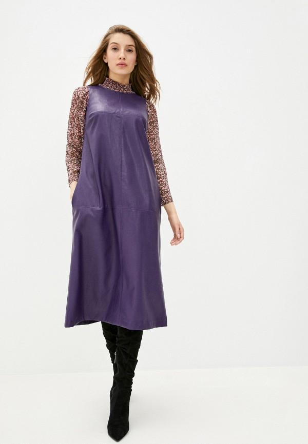 женское кожаные платье helmidge, фиолетовое