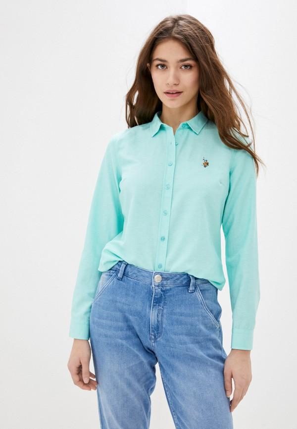 женская рубашка с длинным рукавом u.s. polo assn, бирюзовая