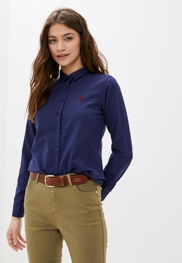 женская рубашка с длинным рукавом u.s. polo assn, синяя