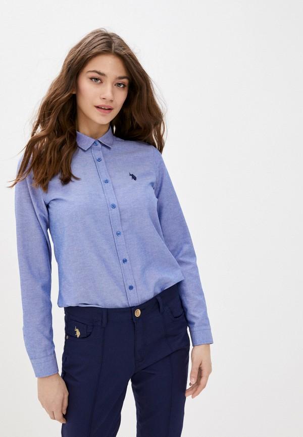 женская рубашка с длинным рукавом u.s. polo assn, голубая