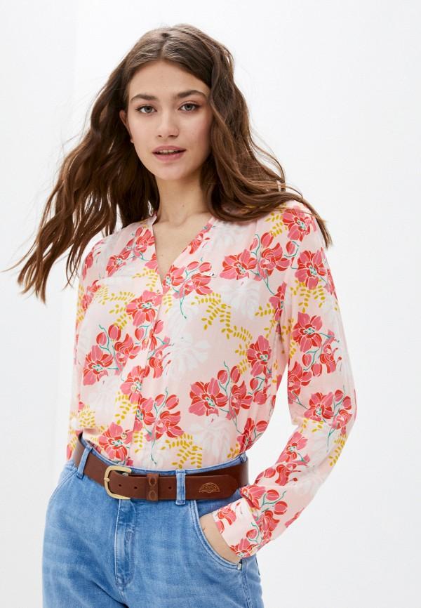 женская блузка с длинным рукавом u.s. polo assn, розовая