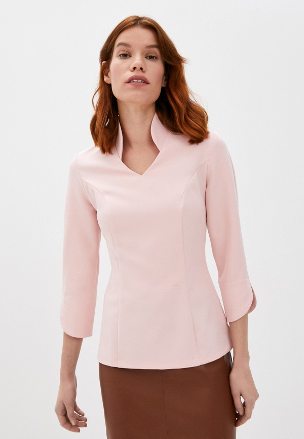 женская блузка с длинным рукавом lovely olgen, розовая