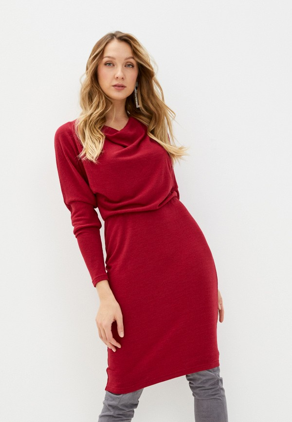 женское платье-свитеры adzhedo, бордовое