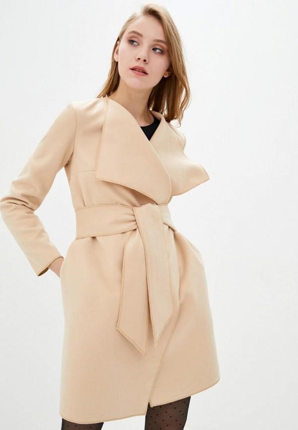 женское пальто подіум, бежевое