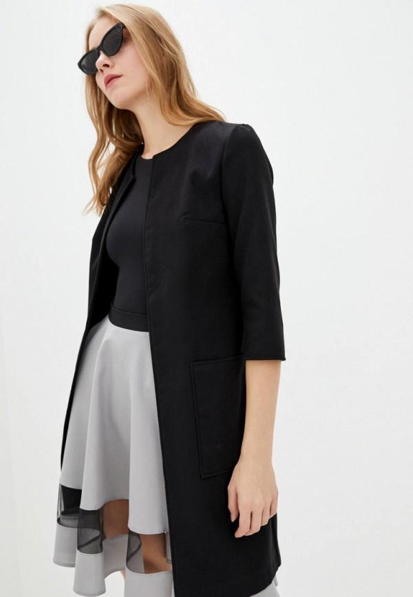 женское пальто подіум, черное