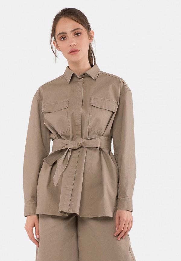 женская рубашка с длинным рукавом mr520, бежевая