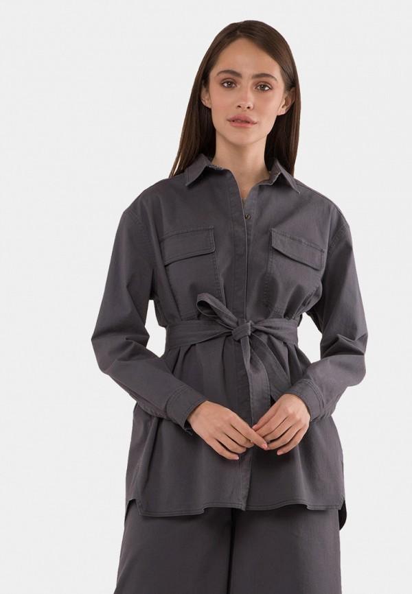 женская рубашка с длинным рукавом mr520, серая