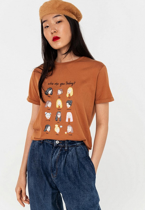 женская футболка befree, коричневая