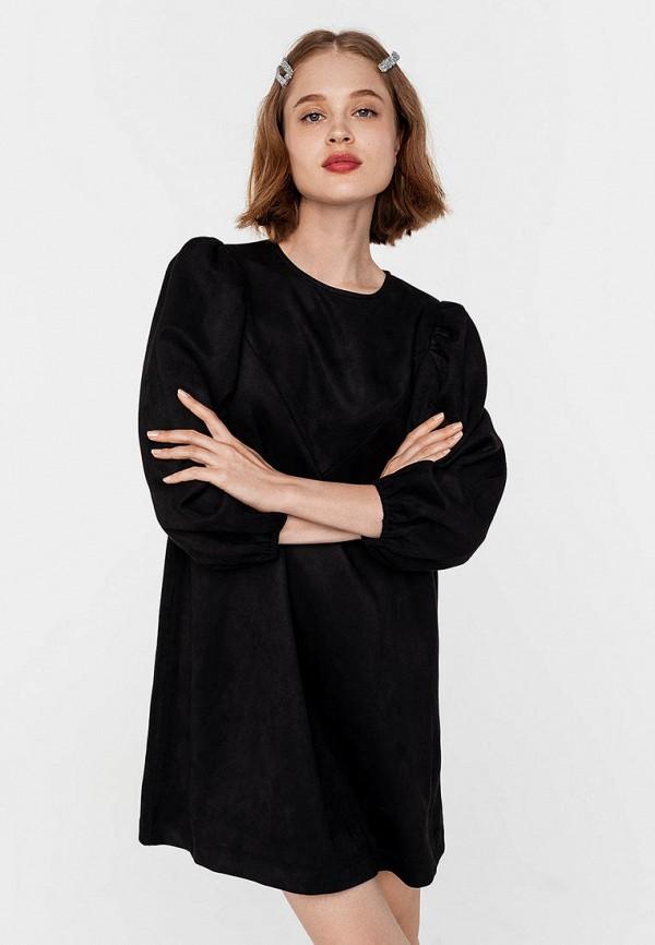 женское кожаные платье befree, черное