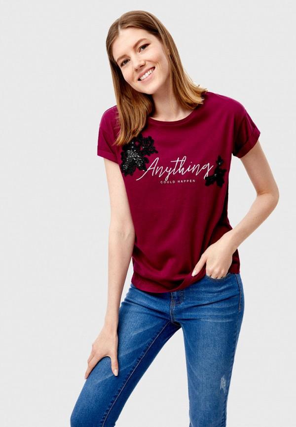 женская футболка o'stin, бордовая