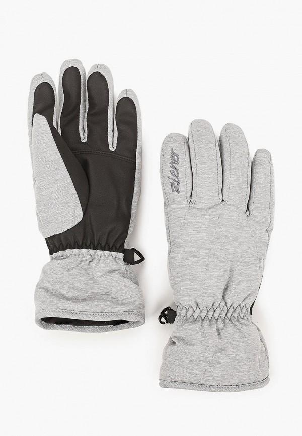 женские текстильные перчатки ziener, серые