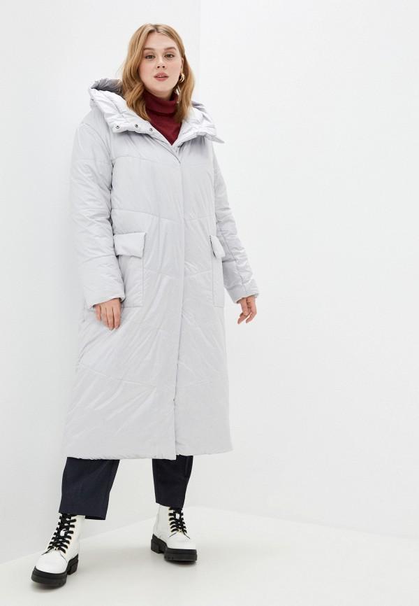 женская утепленные куртка modress, серебряная